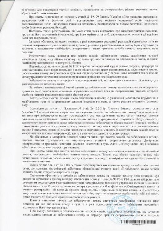 решение суда по Nemiroff Немиров